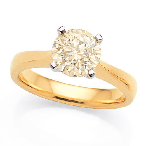 18ct Yellow Gold Champagne Diamond Solitaire Ring