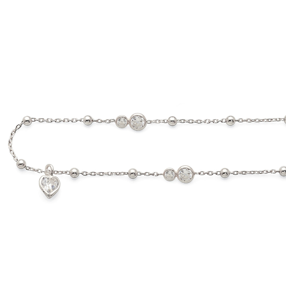 Sterling Silver Cubic Zirconia Anklet