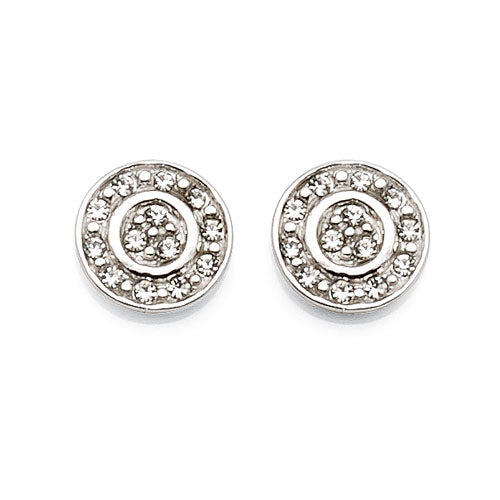 Sterling Silver Round 8mm Crystal Studs