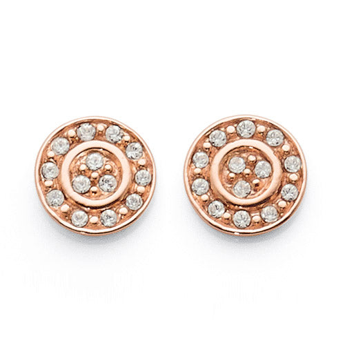 Sterling Silver Rose Tone 8mm Crystal Studs