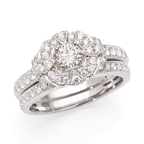 18ct White Gold Diamond Wedder Ring Set TW1.1ct