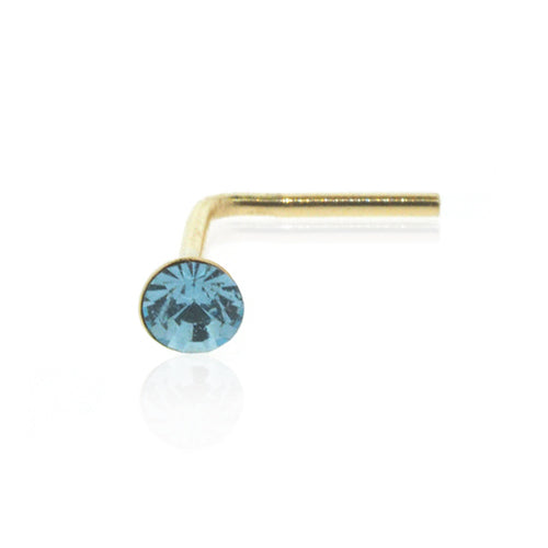 9ct Gold 2mm Aqua Crystal Nose Stud
