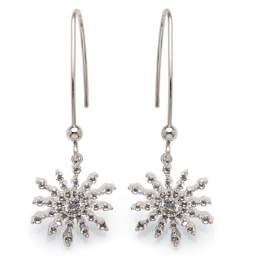 Sterling Silver Cubic Zirconia Snowflake Hooks