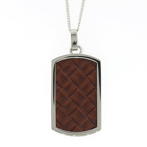 Stainless Steel Brown Leather Pendant