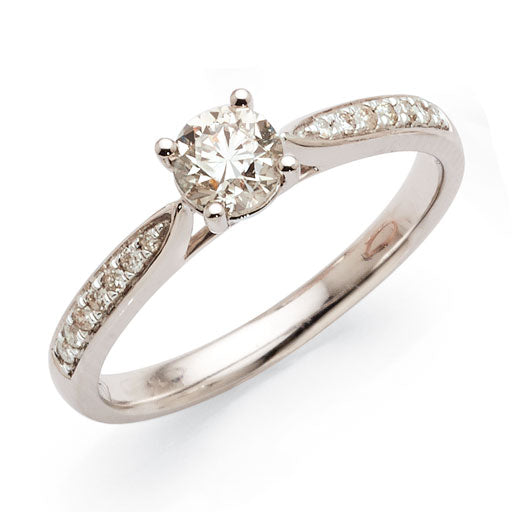 9ct White Gold Diamond Engagement Ring
