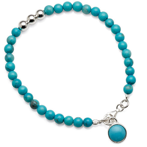 Sterling Silver Created Turquoise Bracelet