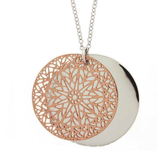 Sterling Silver Disc Pendant & 80cm Chain