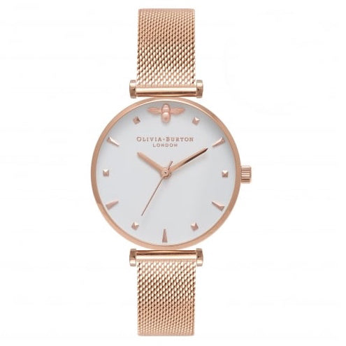 Olivia Burton Rose Gold Mesh Watch OB16AM105