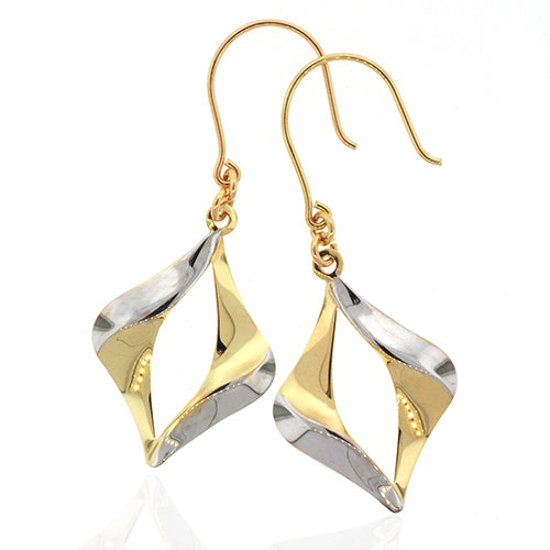 9ct 2-Tone Gold Drop Hook Earrings