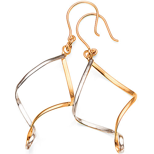9ct Yellow & White Gold 2-Tone 34mm Hook Earrings
