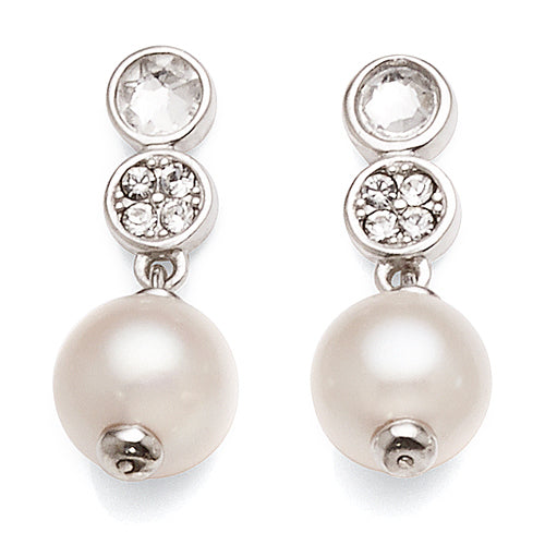 Sterling Silver Crystal Pearl Drop Stud Earrings