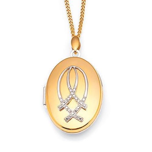9ct Yellow Gold & Sterling Silver Diamond Locket