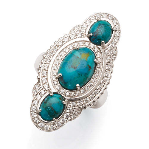 Sterling Silver Reconstituted Turquoise Ring