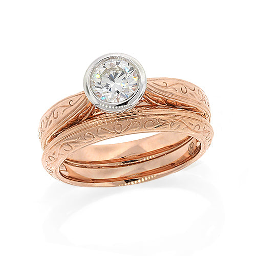 9ct Rose Gold Diamond Ring Set