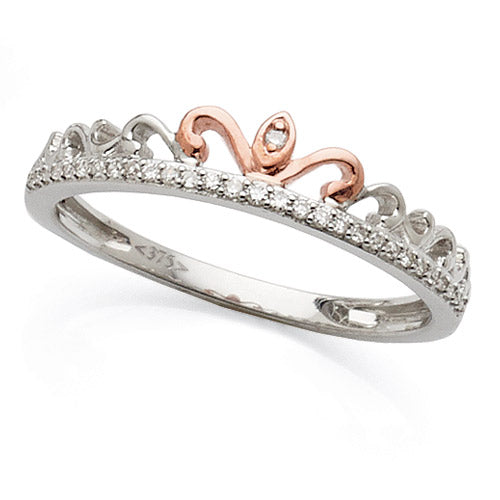 9ct White & Rose Gold 2-Tone Diamond Tiara Ring