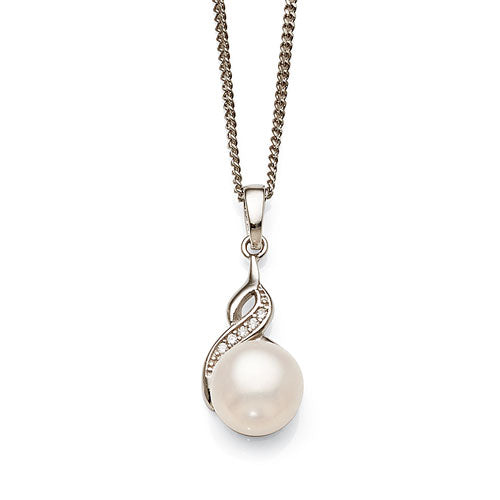 Sterling Silver Pearl & Cubic Zirconia Pendant