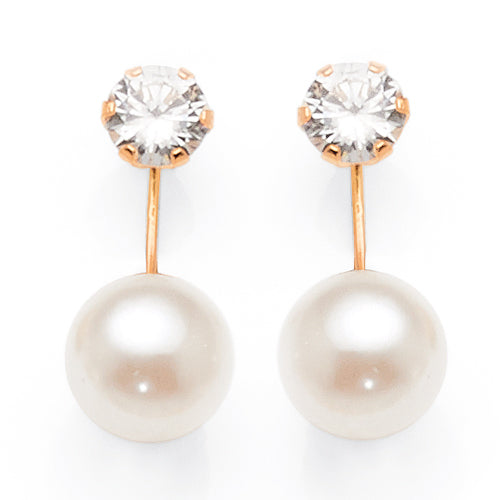 9ct Yellow Gold, Pearl & Cubic Zirconia Stud