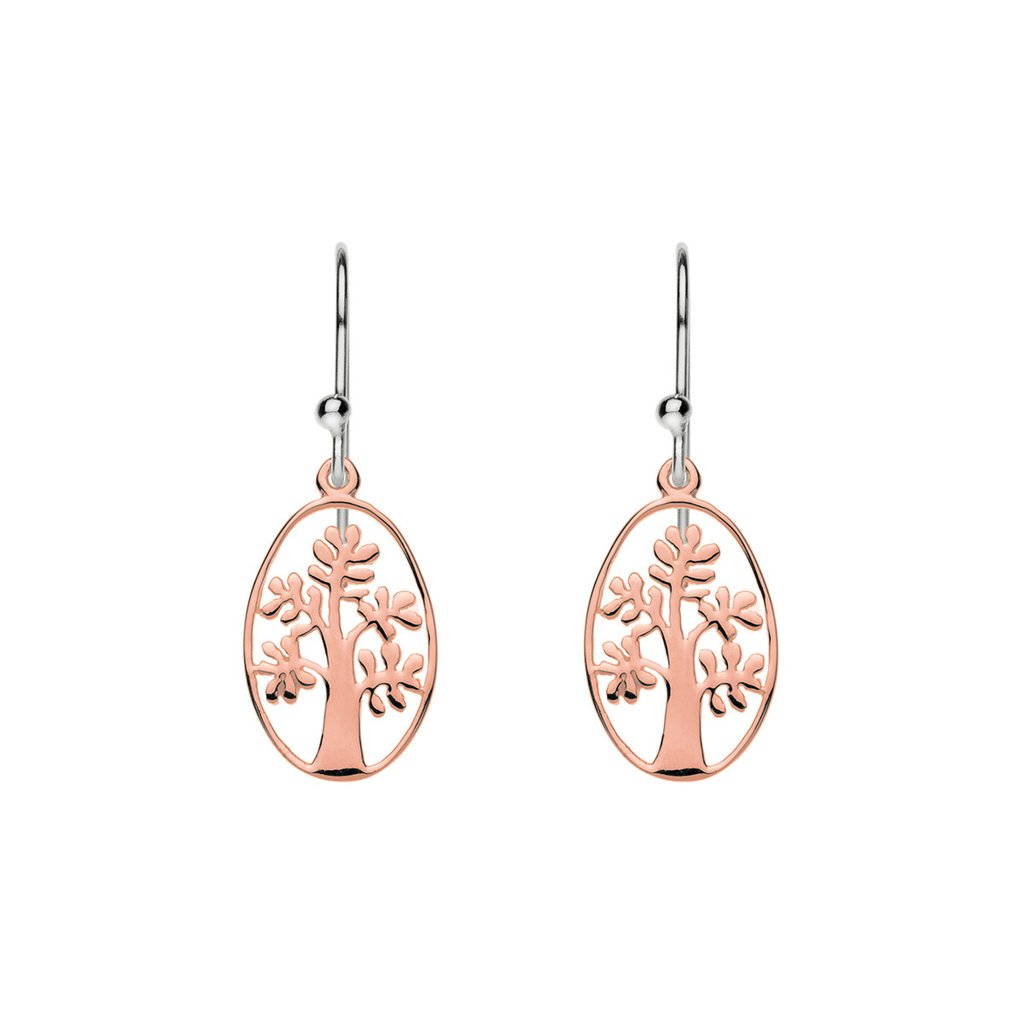 Najo Rose-Tone Sterling Silver Tree Hooks E3213
