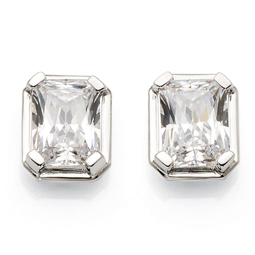 9ct White Gold Cubic Zirconia 8mm Studs