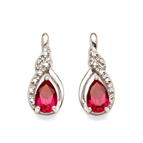 9ct White Gold Created Ruby & Diamond Studs
