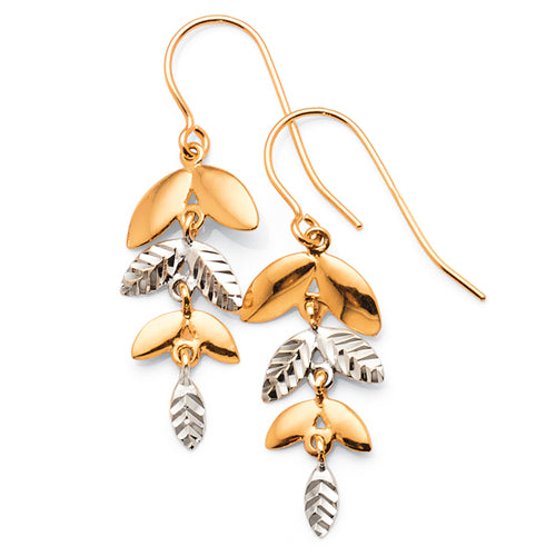 9ct Yellow & White Gold 2-tone Leaf Hook Earrings