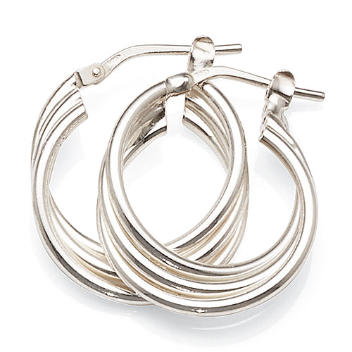 Sterling Silver 15mm Triple Hoops