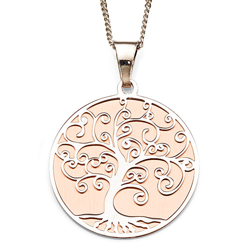 Sterling Silver Rose Tone Tree of Life Pendant