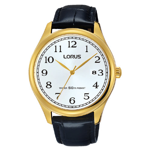 Lorus Black Leather Strap Watch RS920DX-9