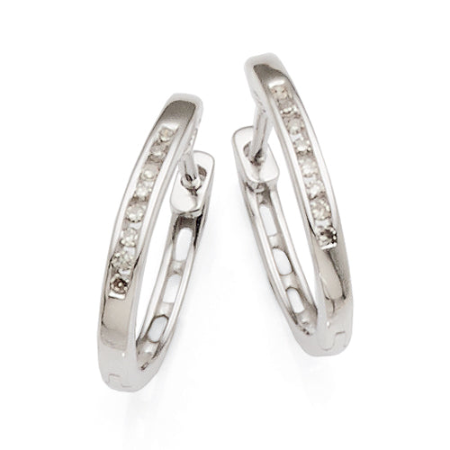 9ct White Gold Diamond Huggie Earrings TW 0.08ct