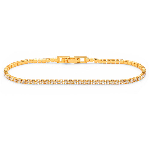 Gold-Tone Crystal Tennis Bracelet