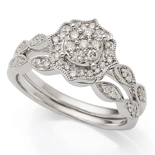 9ct White Gold Diamond Engagement Ring Set