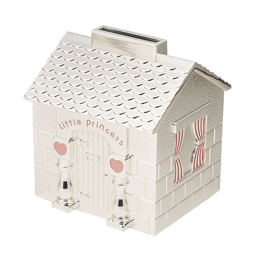 Children's Silver-Tone Princess House Money Bank