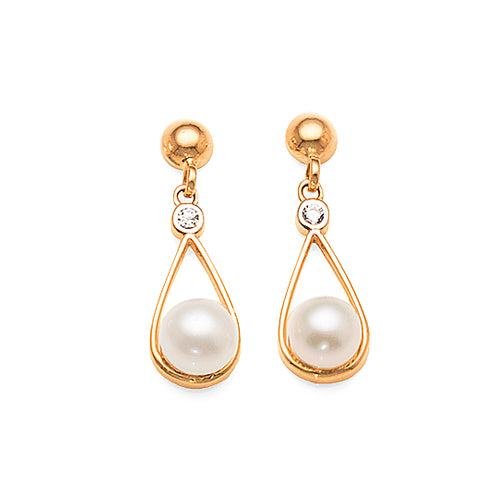 9ct Gold Pearl & Cubic Zirconia 14mm Drop Studs