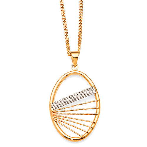 9ct Yellow & White Gold 2-Tone Oval Pendant