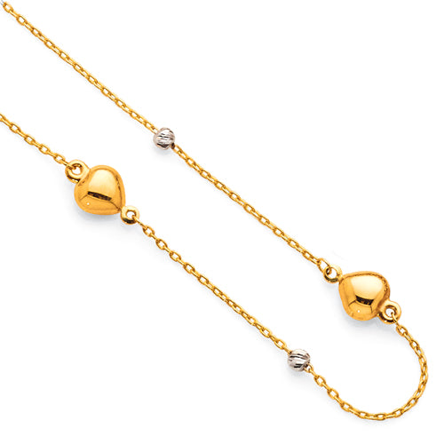 9ct Yellow Gold 2-Tone Puff Heart Anklet