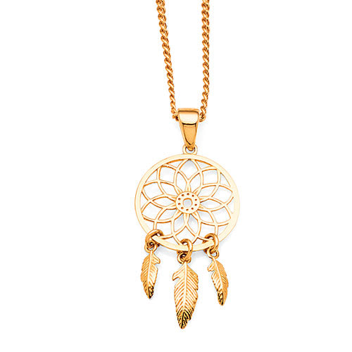 9ct Yellow Gold Dreamcatcher Pendant