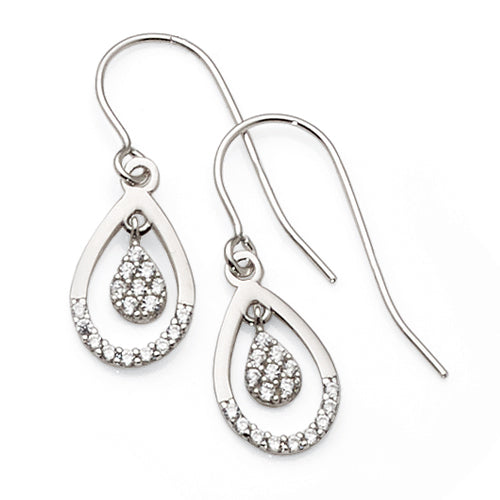 9ct White Gold Cubic Zirconia Hook Earrings