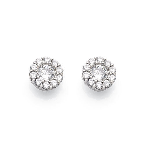 9ct White Gold Cubic Zirconia Flower Studs