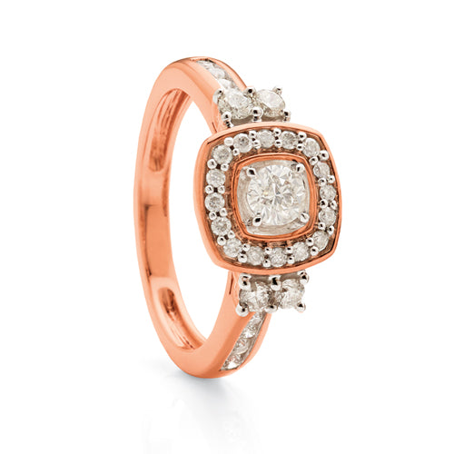 9ct Rose Gold Diamond Ring TW66pts