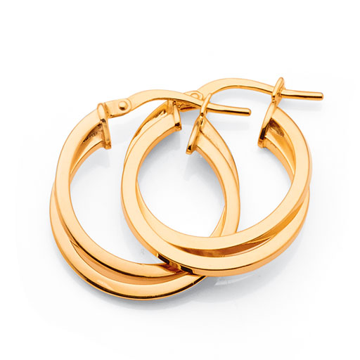 Yellow Gold Bonded 15mm Hoops