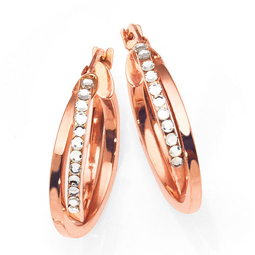 9ct Rose Gold Bonded 15mm Crystal Hoops