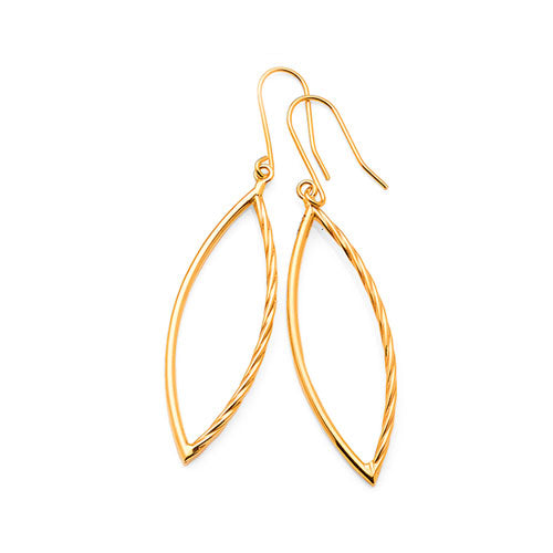 9ct Yellow Gold 37mm Open Marquise Shaped Hooks