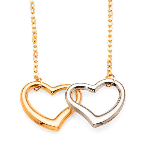 9ct Yellow & White Gold 2-Tone Heart Necklet
