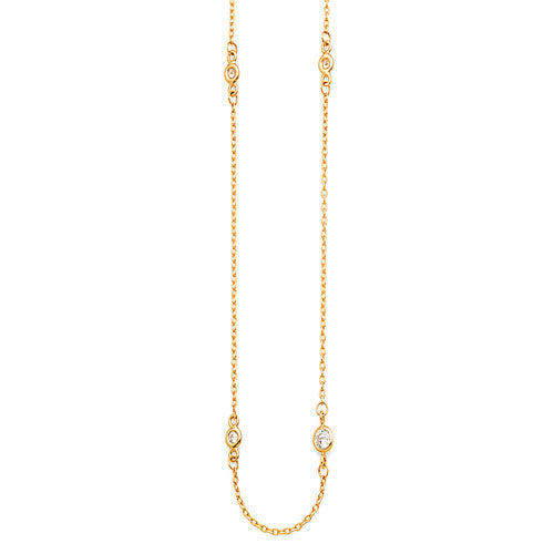 9ct Yellow Gold Cubic Zirconia 45cm Necklet Chain