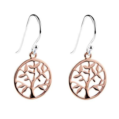 Najo Rose-Tone Silver Tree Of Life Hooks E3190