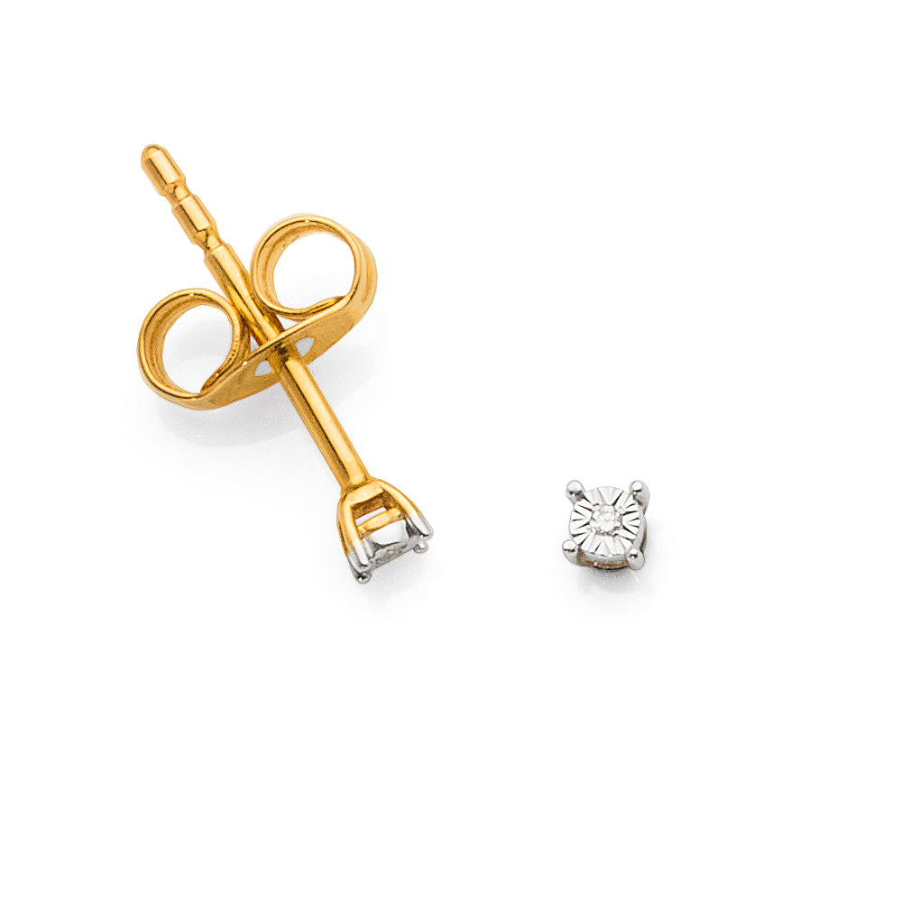 9ct Yellow Gold Diamond Studs