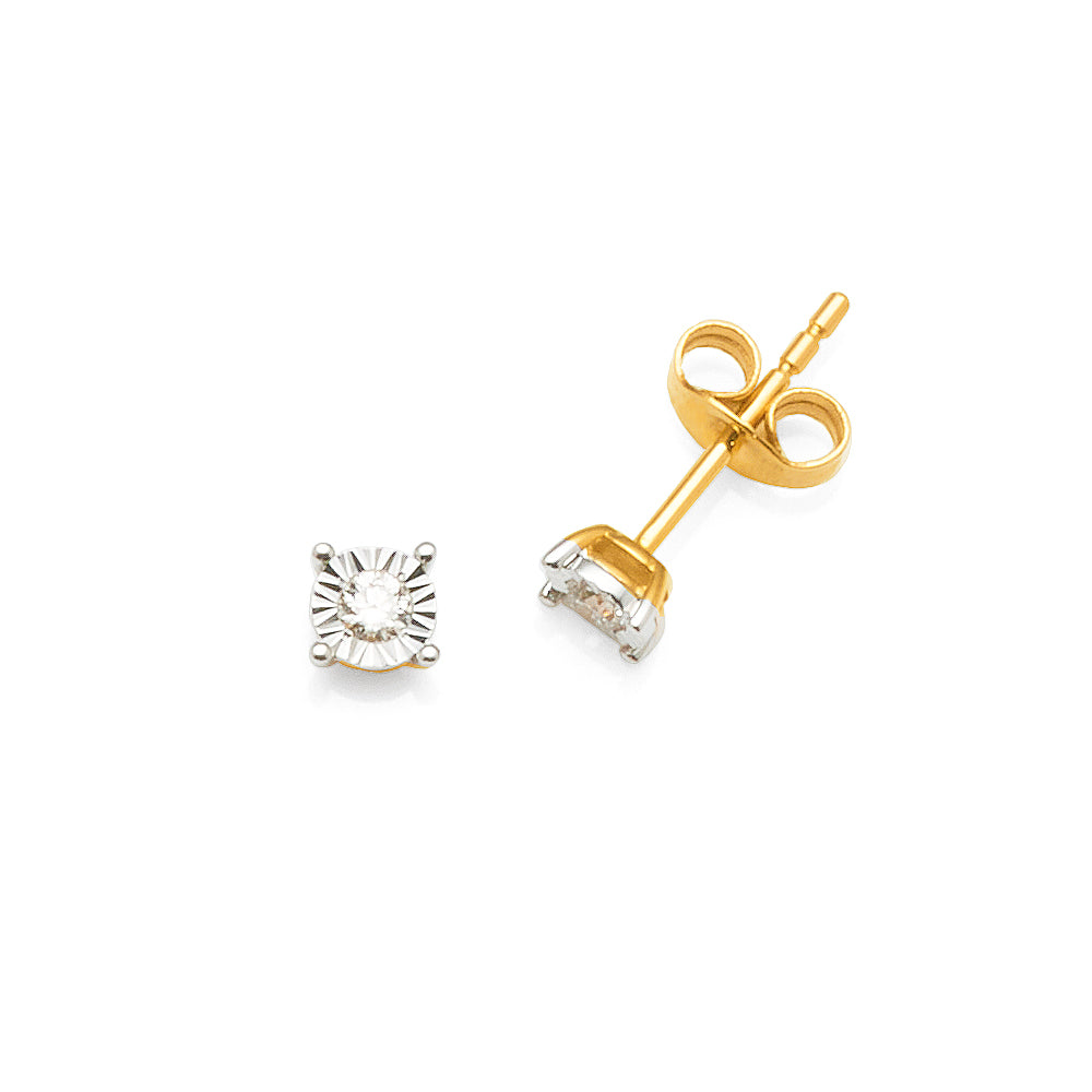 9ct Gold Diamond Stud Earrings TW 0.10CT