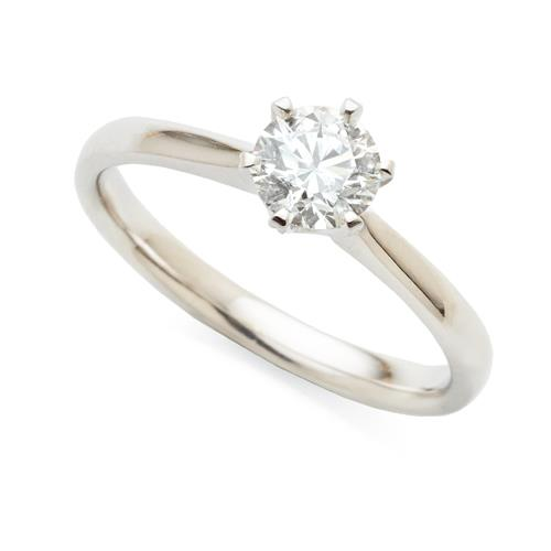 18ct White Gold 0.62ct Diamond Solitaire 6-Claw Ring