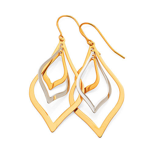 Yellow & White Gold Bonded  2-Tone Hook Earrings