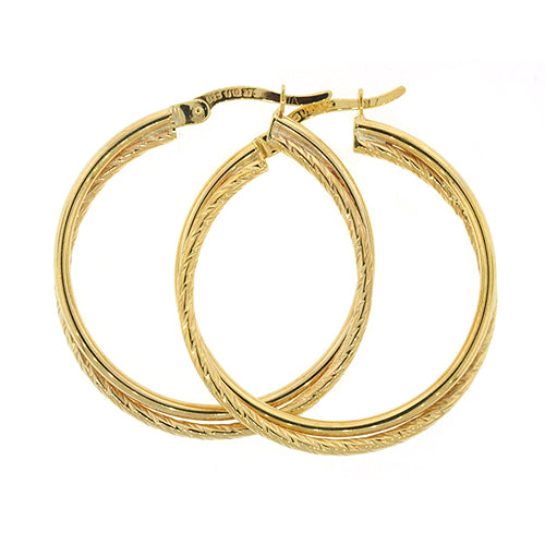 9ct Gold Bonded 24mm Hoops